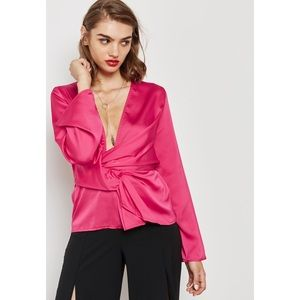 NWT Missguided Pink Pleated Wrap Blouse